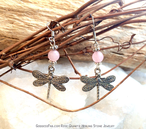 Rose Quartz Freedom Dragonfly Earrings
