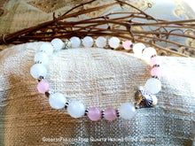 Rose & White Quartz Sunburst Heart Bracelet