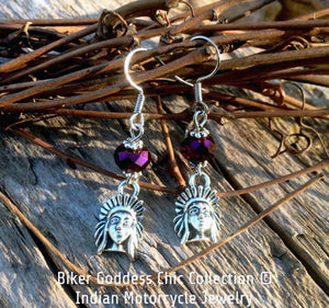 Indian Motorcycle Earrings with Purple Swarovski Crystal