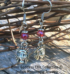 Indian Motorcycle Earrings with Red Swarovski Crystal