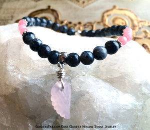 Labradorite & Rose Quartz Angel Wing Bracelet