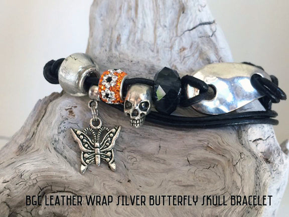 Italian Leather and Silver Skull with Butterfly Charm Wrap Bracelet