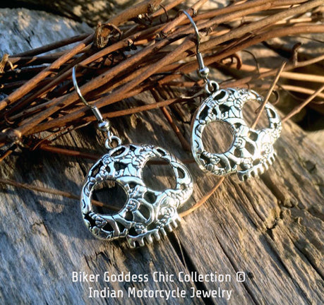 Silver Patterned Half Skull Earrings