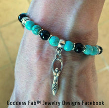 Turquoise and Onyx Silver Eternal Celtic Goddess Bracelet
