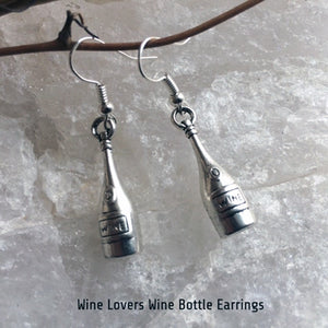 Round 'Wine' Labeled Wine Bottle Earrings