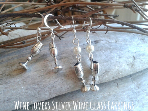 Silver Wine Glass Earrings