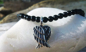 Black Onyx 925 Silver Angel Wings Necklace