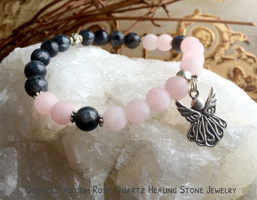 Rose Quartz & Labradorite Angel Bracelet