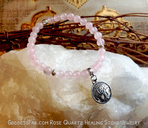 "Rose Quartz ""Family Life"" Tree of Life Bracelet"