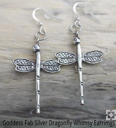 Silver Dragonfly Whimsy Earrings
