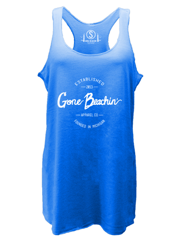 Gone Beachin' Script , Tri-Blend Racerback Tanks - GBAC, Gone Beachin' Apparel Co.