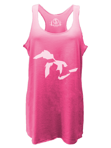 Great Lakes Simplified , Tri-Blend Racerback Tanks - Gone Beachin' Unsalted, Gone Beachin' Apparel Co.