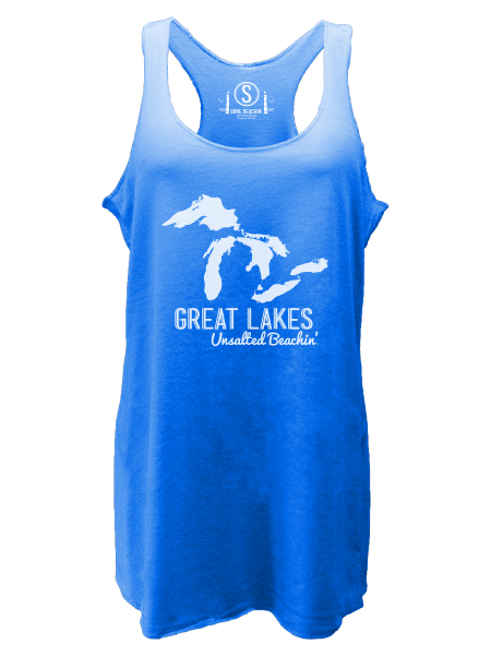 Great Lakes Unsalted Beachin' , Tri-Blend Racerback Tanks - Gone Beachin' Unsalted, Gone Beachin' Apparel Co.