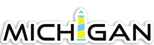 Michigan Lighthouse Sticker - Gone Beachin'