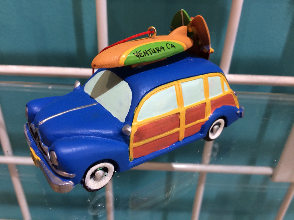 Ornament - Resin Woody w/Surfboards