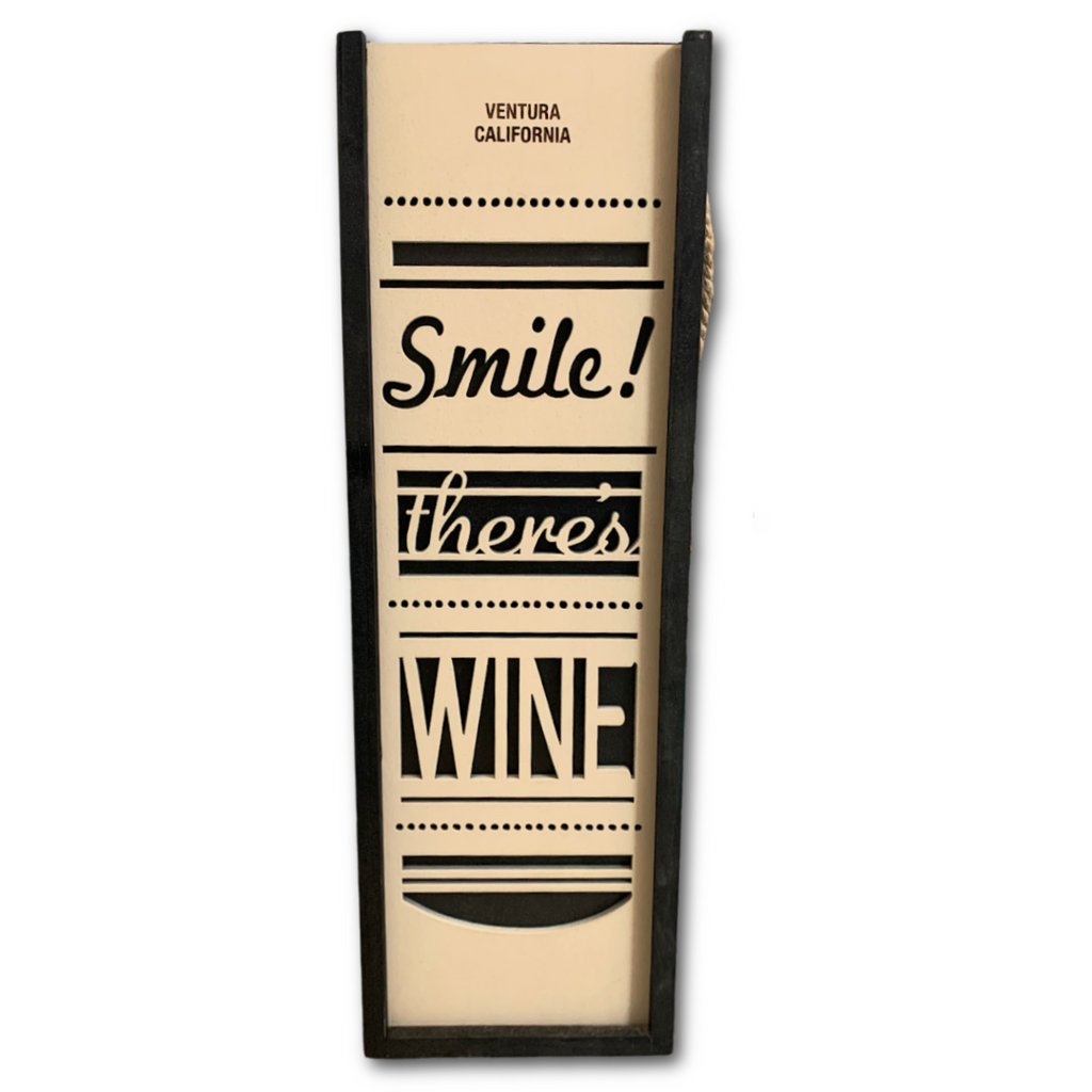 'Smile! There's Wine' Wine Caddy - Very Ventura Gift Shop & Gallery