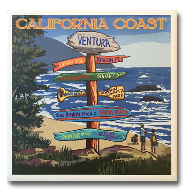 Ventura Beach Signs Coaster