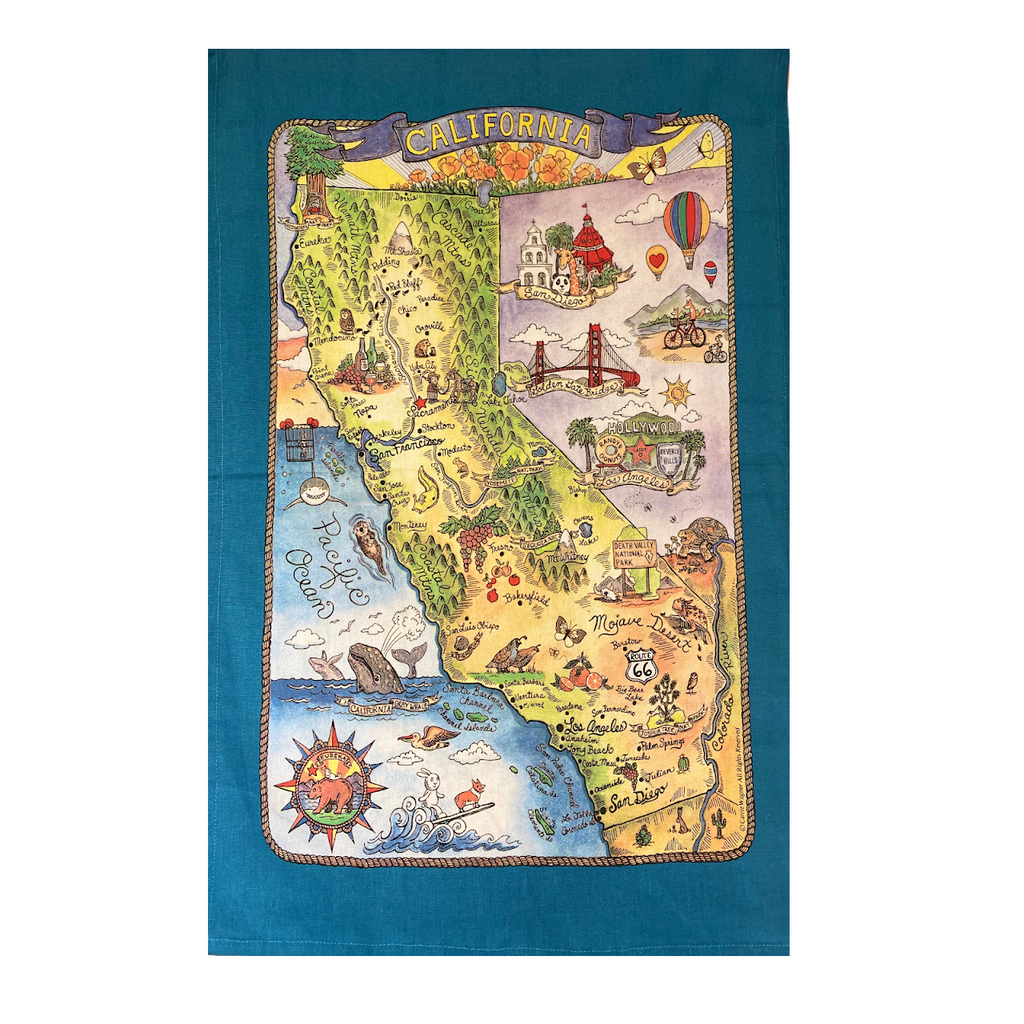 California Poster Style Tea Towel - Very Ventura Gift Shop & Gallery