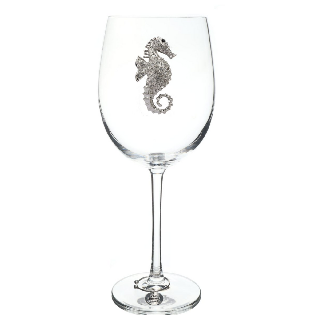 Seahorse Jeweled Wine Glass - Very Ventura Gift Shop & Gallery