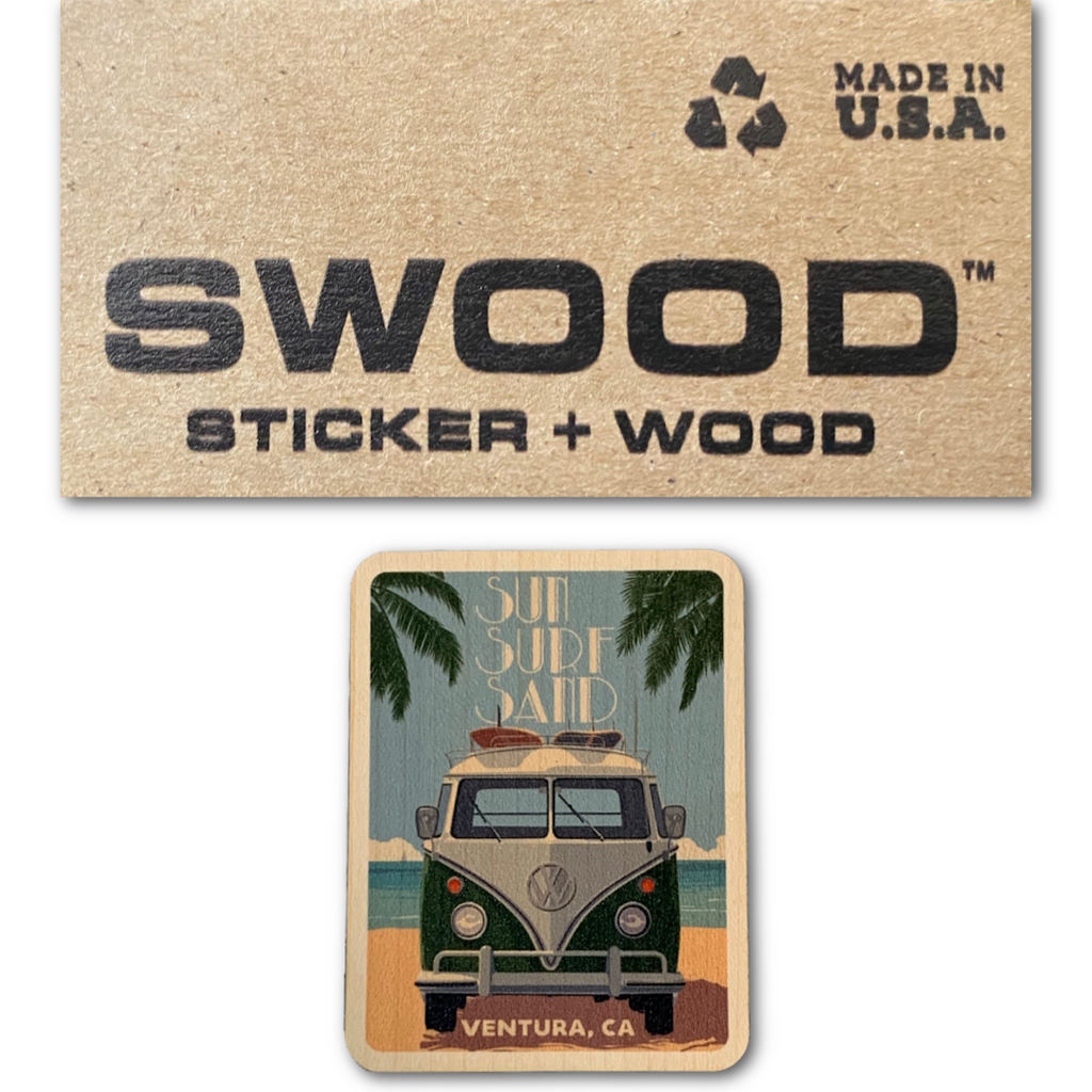 'Sun Sand Surf' Wood Sticker - Very Ventura Gift Shop & Gallery