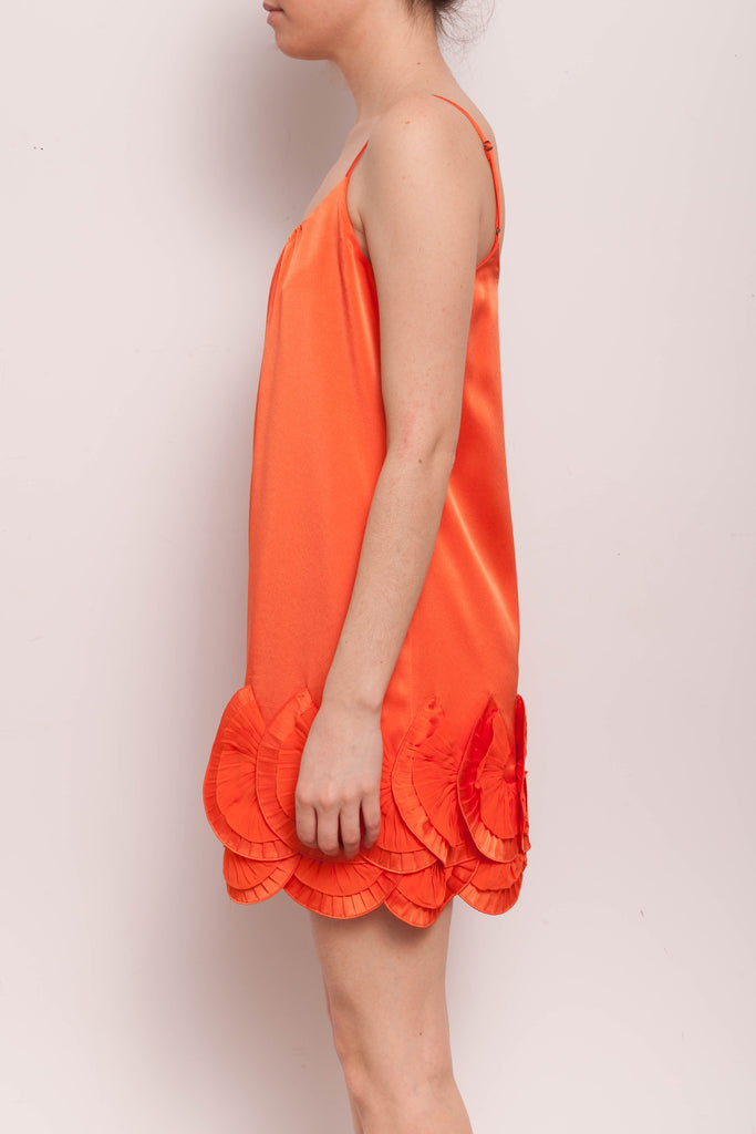 Robe orange à fines bretelles