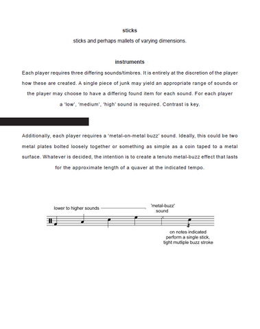 Blaze for Junk Percussion Ensemble - Score Example page 1