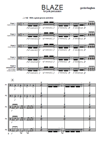 Blaze for Junk Percussion Ensemble - Score Example page 2