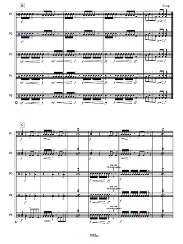 Blaze for Junk Percussion Ensemble - Score Example page 4
