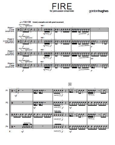 FIRE for Untuned Percussion Ensemble - Score