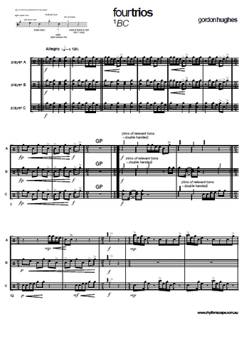 Four Trios for Untuned Percussion by Gordon Hughes - Score 1