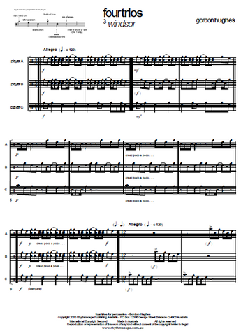 Four Trios for Untuned Percussion by Gordon Hughes - Score