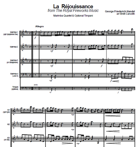 La Rejouissance (Royal Fireworks Music) - Handel arr. Carvolth for Mallet Percussion Ensemble
