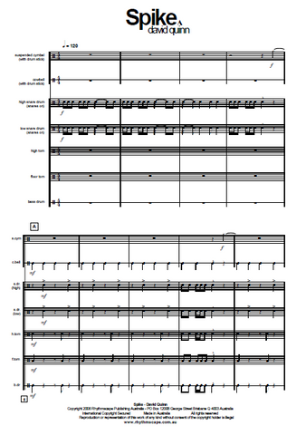 SPIKE for Percussion Ensemble - Beginner/Intermediate - Score Example