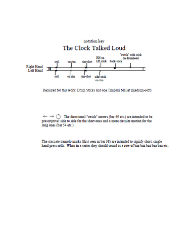 The Clock Talked Loud for Solo Snare Drum by Rob Cossom - Key