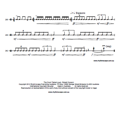 The Clock Talked Loud for Solo Snare Drum by Rob Cossom - Score