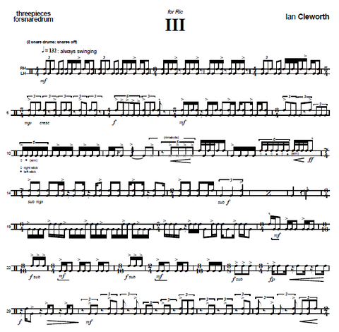 Three Pieces for Snare Drum by Cleworth - Number 3 for Ric