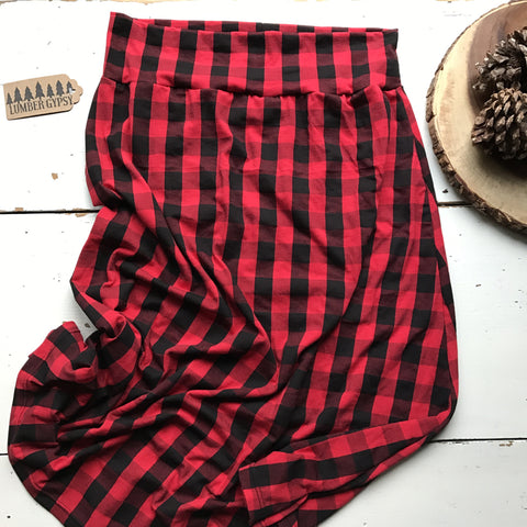 Buffalo Plaid Midi Skirt