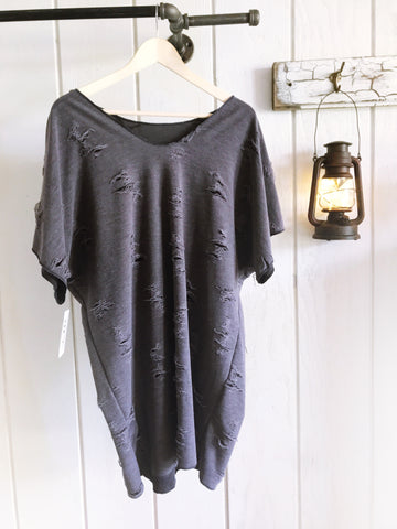 Distressed Navy Slouchy Tunic