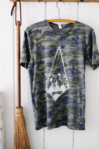 Camo Where the Mountains Meet the Water tee