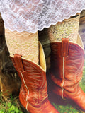 Peachy Lace Gypsy Boot Cuffs