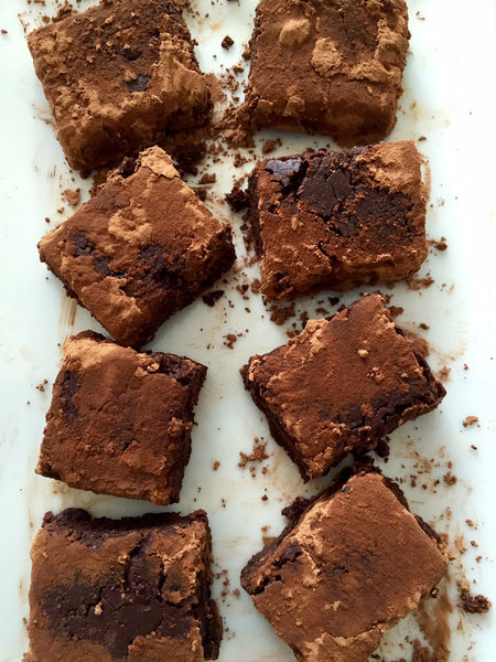 Dark chocolate coconut truffle squares with fine cacao dusting