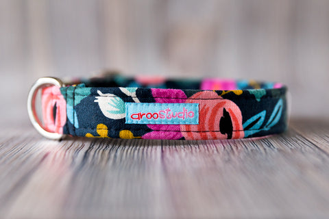 Fleur Noir Cotton Dog Collar