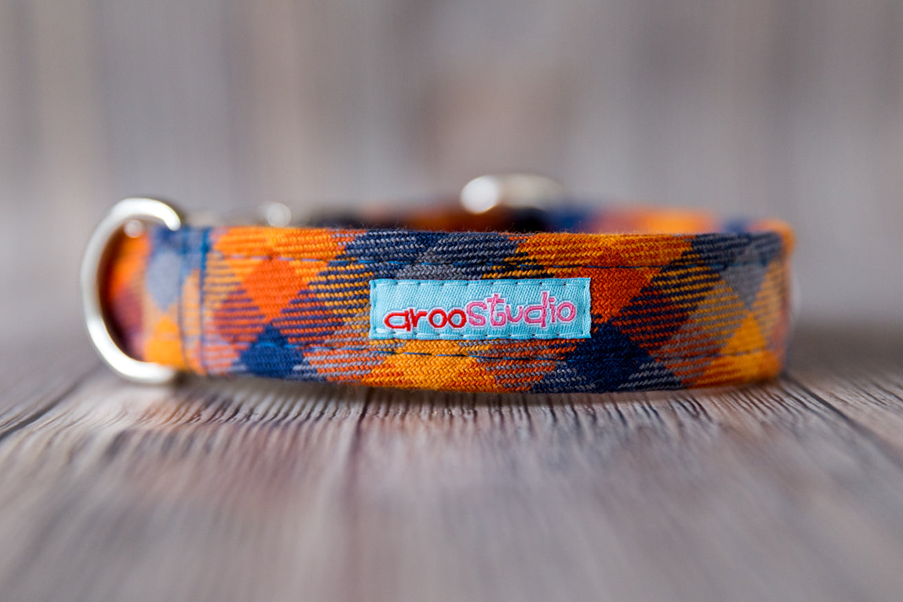 Harvest Plaid Cotton Dog Collar
