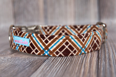 Chestnut Plaid Cotton Dog Collar