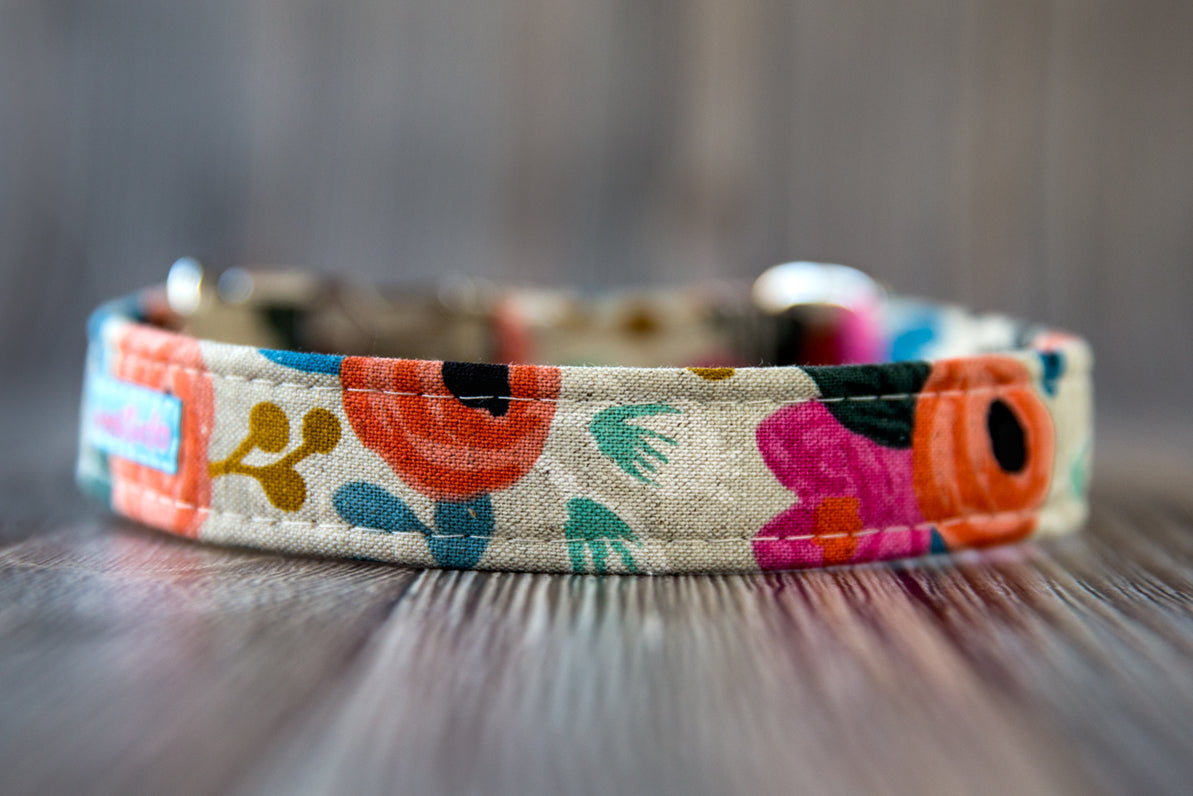 Fleur Cotton Dog Collar
