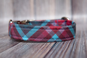 Huckleberry Plaid Cotton Dog Collar