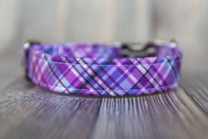 Purple Plaid Cotton Dog Collar