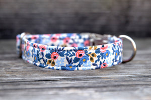 Periwinkle Rose Cotton Dog Collar
