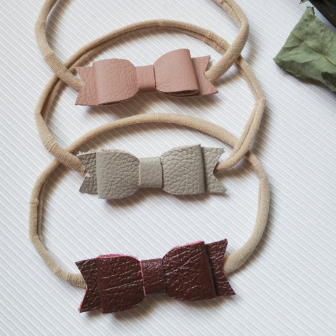 Leather Bow (Headbands) - matching baby shoes available