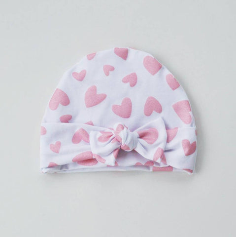 Shimmer Pink Hearts Bow Beanie